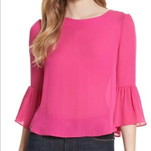 Alice + Olivia Bernice Pink Bell Sleeve Silk Top